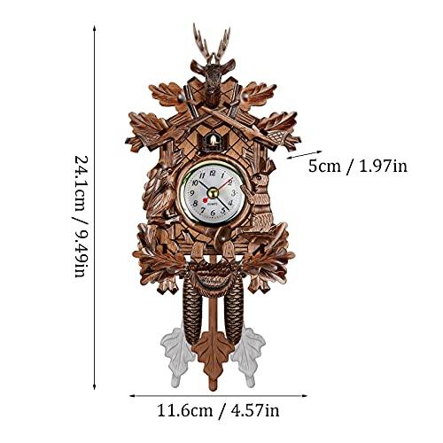 Cuckoo Shaped Clock, Wooden Clock Retro Alarm Clock for Home Cafe Bar Wall Decor, Living Room Clock for Living Room, Office, Hotel Kitchen, Home Decoration Gift for Housewarming