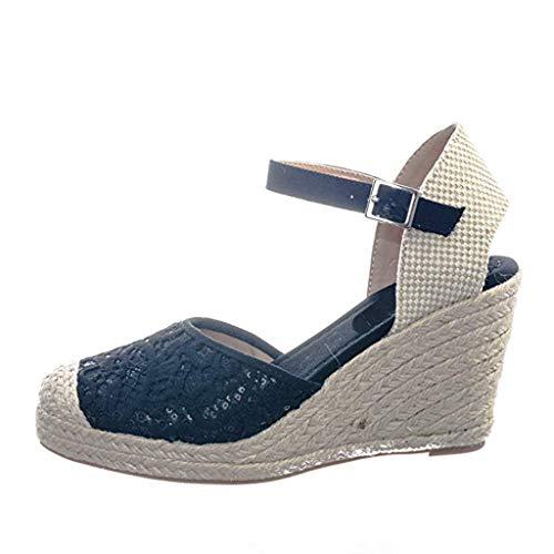 Platform Wedge Sandals Retro Ladies Lace Cutout Bald Baotou Wedge Roman Sandals Black
