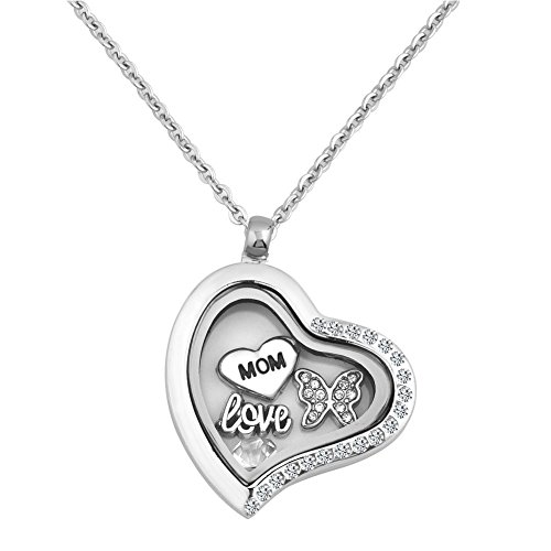 LilyJewelry Mom Love Butterfly Floating Charms Living Memory Heart Locket Pendant Necklace
