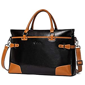 BOSTANTEN Leather Briefcase Messenger Satchel Bags Laptop Handbags for Women Black