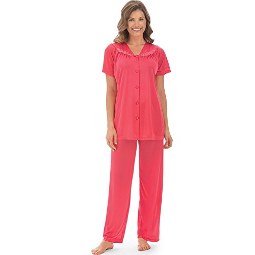 (Women's Floral Embroidery Tricot Pajama Set, Coral, XX-Large)