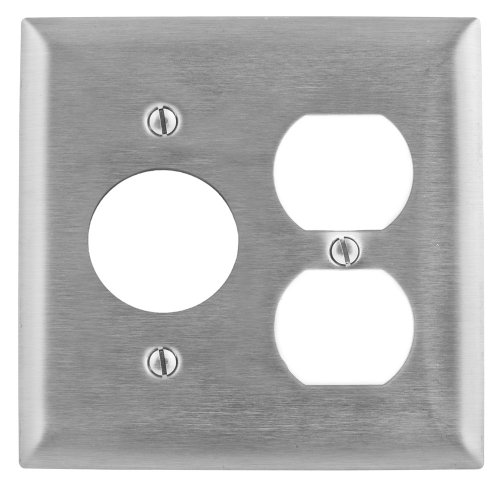 Hubbell Wiring Systems SS8720 302/304 Stainless Steel Combination Wall Plate, 2 Gang, 1 Single Receptacle, 1 Duplex, 1-19/32