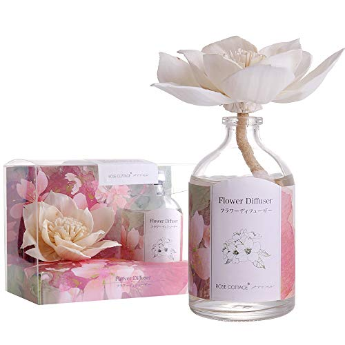 Rose Room Fragrance - Rose Cottage Reed Diffuser Set Lavender Scented Sticks Oil Diffuser Room Fragrance for Bedroom Living Room Office 100ML/3.4Oz.