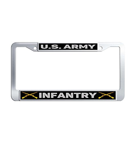 U.S. Army Infantry Premium Stainless Steel License Plate Frame Holders, Mirror Polished Metal Universal License Plate Covers for US Standard with 2 Screws Caps