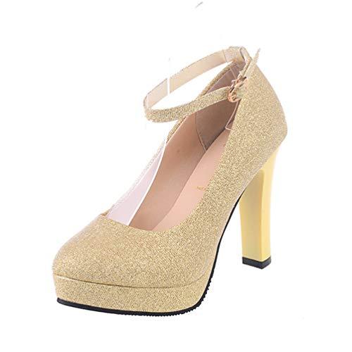Chaussures Escarpins Cour Womens Élégante Mariage Plate forme De Sexy Boucle Hauts Or Aiguilles Partie Talons qIw0X0Bxa