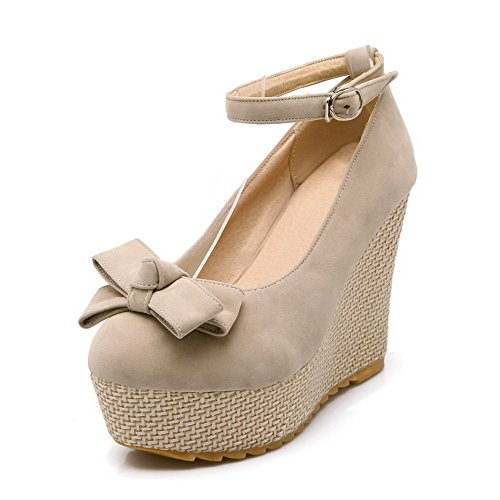 Round Closed Buckle WeenFashion Beige Shoes Pumps High Toe Women's Heels Solid qa5UCT