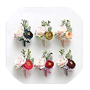 FAT BABY Wedding Boutonniere Blue Flower Corsages Silk Roses Marriage Corsage Groom Guests Brooch Wedding Accessories 98
