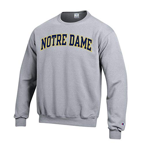 Champion NCAA Men's ECO Power Blend Crew Sweatshirt with Tackle Twill Embroidered Lettering (Notre Dame Fighting Irish-Heather Grey, X-Large)