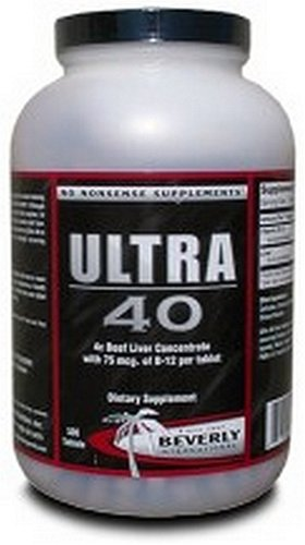 Beverly International Ultra 40, 4x Beef Liver Concentrate, 500 Tablets