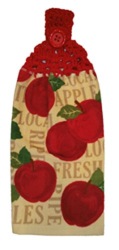 Handcrafted Cherry Red Crochet Topped Fresh Apple Theme Kitchen Towel