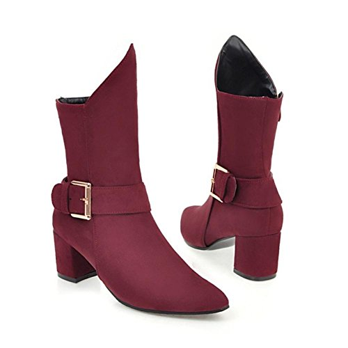 NVXIE Women's Ladies Short Boots Rough High Heel Pointed Toe Scrub Belt Buckle Black Wine Red Fall Winter Party Work WINERED-EUR41UK758 Z1n3c