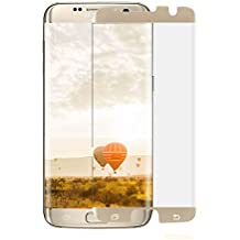 [Case Friendly] S7 Edge Tempered Glass Screen Protector,JR-Glass Curved Tempered Glass Screen Protector (98% Coverage) for Samsung Galaxy S7 Edge(Bubble Free Installation),Gold Frame