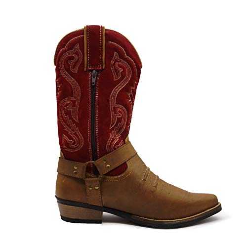 Red Kick Cowboy Tirare Lungo Occidentale Caviglia Mens Eu40 Boots Suede Cubano Footwear 47 Tacco Smart OqrxaOnFCw