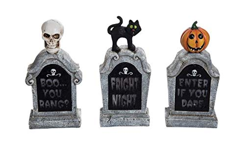Fright Night Collection Resin Light up Tombstone Scary Cat, Skull Scary Pumpkin Design Indoor Outdoor Fun Halloween Decoration! (Set of 3) ()