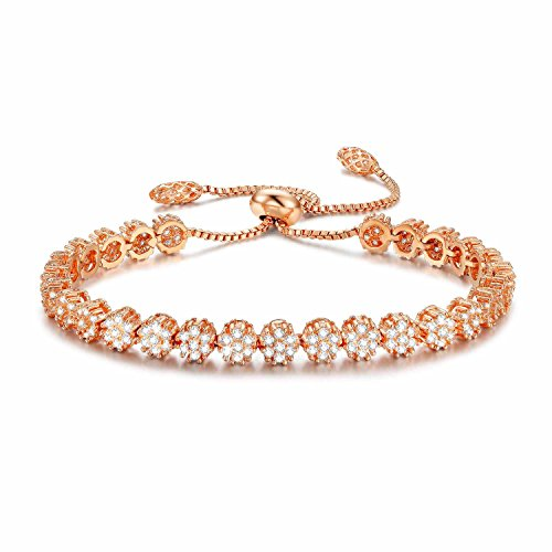 Cubic Zirconia Stackable Bangle - SPILOVE Serend Rose Gold Plated Adjustable Bracelet with Sparkling White Cubic Zirconia Stone for Women