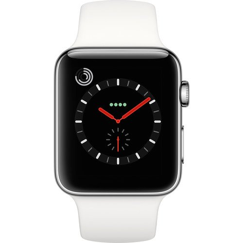 Apple Watch Series 3, 42MM, GPS + Cellular, Stainless Steel Case, Soft White Sport Band -