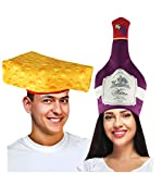 wine and cheese accessories - Tigerdoe Couples Costumes - Wine & Cheese Couples Hat - Food Hats - Funny Costumes for Adults - 2 Pk