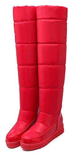 IDIFU Red Long Boots Booties Faux Lined Fur Fully Snow High Wedge Heels Mid Warm Womens Knee rwqZOar