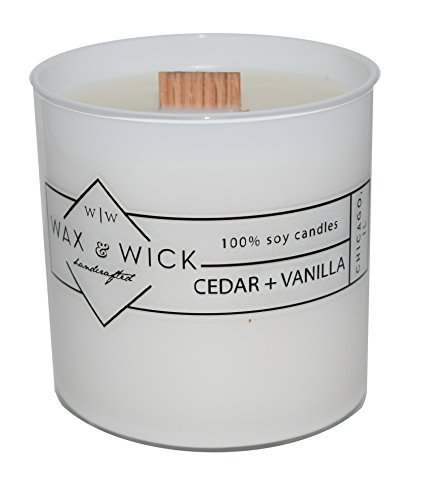 Scented Soy Candle: 100% Pure Soy Wax with Wood Double Wick | Burns Cleanly up to 60 Hrs | Cedar + Vanilla Scent with Notes of Cedarwood and Vanilla. | 12 oz. White Jar by Wax and Wick - Glass Wood Candle