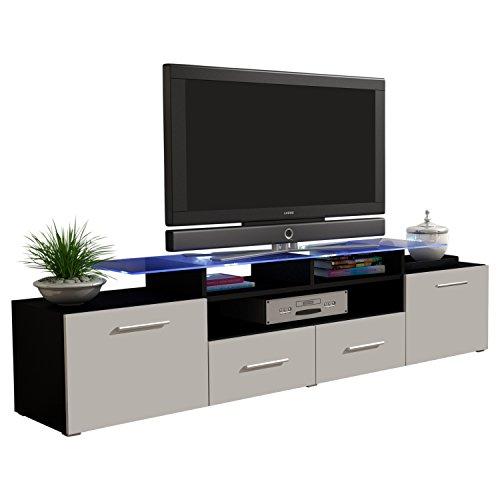 MEBLE FURNITURE & RUGS TV Stand Vegas Matte Body High Gloss Doors Modern TV Stand (Black/White) ()