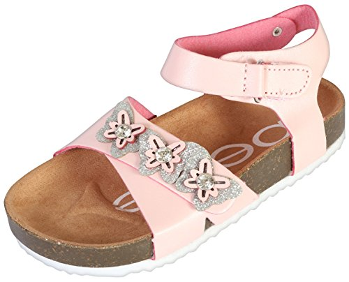bebe Girls Open Toe Footbed Sandal (Toddler), Blush/Silver, 7 M US Toddler' -