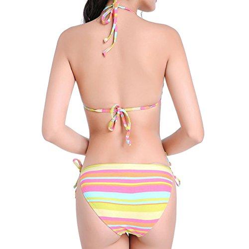 Xinvision Sud-est Partie Bikinis Maillot De Bain Rayures Arc-en-plage De Style Asiatique Spa Été Suitwear Pour Les Femmes Rose