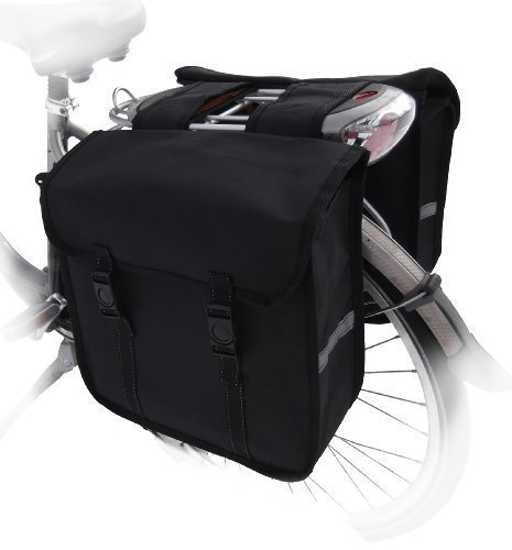 TJ-C-09 Fahrradtasche JENNY CLASSIC schwarz Satteltasche Gepäckträgertasche 2 x 14 Liter Schwarz