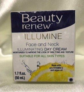 Beauty Renew Illumine Face and Neck Day Cream with pro Vitamin C and Organ oil. 1.7 FL OZ (Beauty Renew Illuminating)