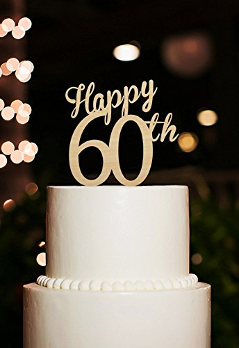 Happy 60th Cake Topper 60 Years Anniversary Cutsom Number Birthday Toppers