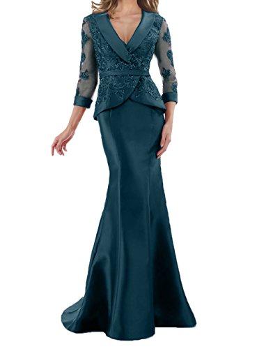Tinte Figurbetont Lang Damen Meerjungfrau Blau Spitze Charmant Brautmutterkleider Promkleider Partykleider Elegant zw8q1