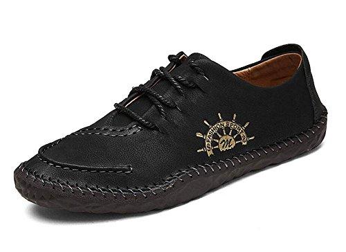 SHIXR Männer Bootsschuhe Britische Männer Casual Schuhe Urban Jugend Tägliches Leben Retro Schuhe Flache Schuhe , black , 41