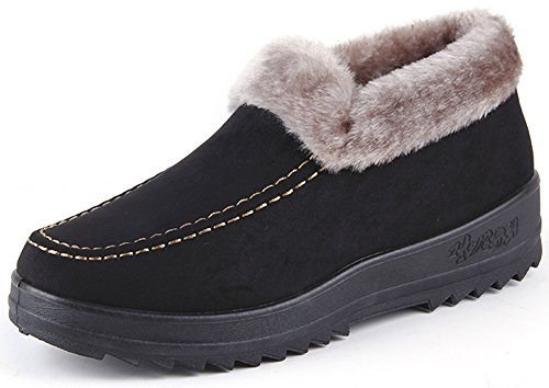 Product image of Labato Style Women's Winter Short Snow Boots Warm Slip-on Walking Shoes Fur Lined Footwear (Black, 8 B(M) US)