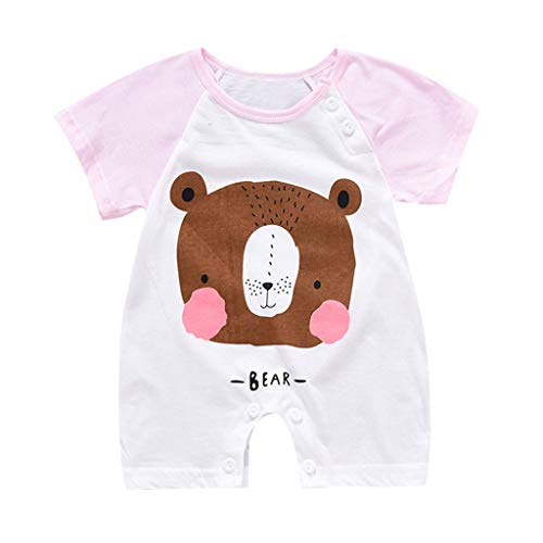 (Willow S Summer New Korean Version Newborn Baby Boy Girls Cartoon Infant Hoodie Pants Rompers Jumpsuit Outfits Sets Pink)