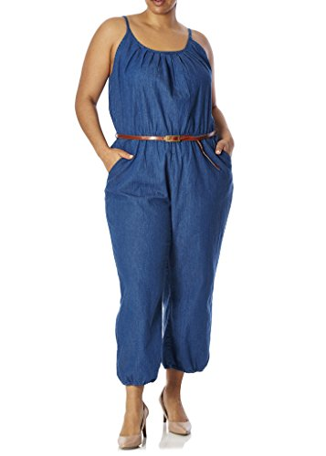 [28340XR-BLU-1X] Womens Junior Plus Size Denim Jumpsuit: Sleeveless, Belt, Capri (Plus Size Capri Suits)