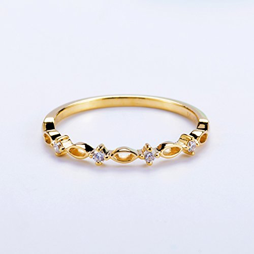 Half Eternity Art Deco Antique SI//H Diamonds Wedding Band Solid 14K Yellow Gold