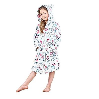Boys & Girls Bathrobes, Plush Soft Coral Fleece Floral Hooded Sleepwear For Kids
