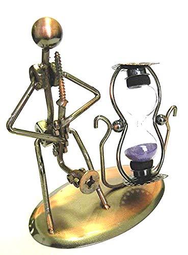 Tono de bronce Estatuas de hierro forjado de soldadura a mano cuerno músico escultura reproductor de ...