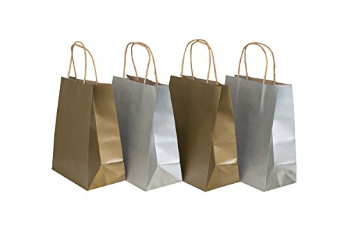 Medium Size Paper Gift Bags with Handles , Metallic Gold ans