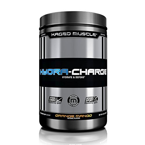 KAGED MUSCLE – Hydra Charge Premium Electrolyte – 60 Servings – Hydrate Faster* – Orange Mango Flavor – Mixes Perfectly with Pre-Intra and Post -Workout Stacks – Tastes - For Mix Color Orange