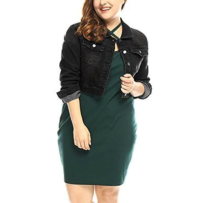 uxcell Women's Plus Size Button Closed Cropped Denim Jacket at Women's Coats Shop