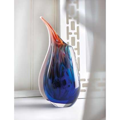 Home Vase Colorful Flower Filler Glass Bright Blue Centerpiece Unique Tabletop Decorative Elegant Art - Galleria In Roseville
