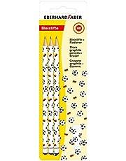 Eberhard Faber 511893 – zestaw do pisania z piłką nożną, z 3 ołówkami i gumką
