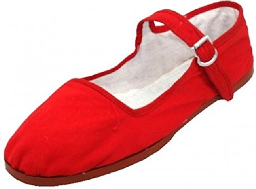 (Womens Cotton Mary Jane Shoes Ballerina Ballet Flats Shoes (8, Red)