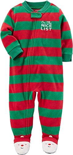Carter's Baby Boys' 12M-24M One Piece Striped Holiday Fleece Pajamas 18 Months (Striped Pajama Fleece)