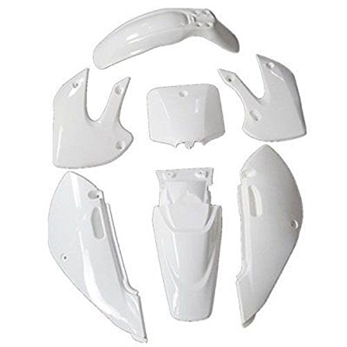 NEWANIME(R) White Fairing Body Plastic Parts For Suzuki KAWASAKI KLX 110 DRZ110 Dirt Pit Bike (Plastic Body Fairing)