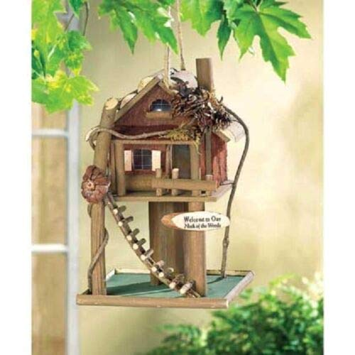 Fishing Rustic Log Lake Cabin Camping Wood Fairy Bird Feeder House ()