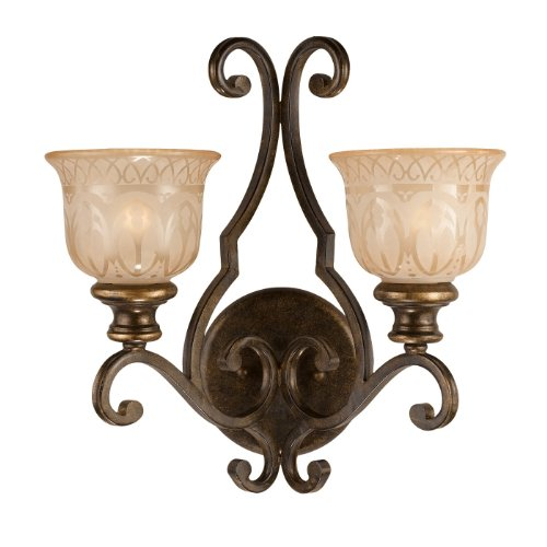 Crystorama 7402-BU Wrought Iron Two Light Wall Sconce from Norwalk collection in Bronze/Darkfinish, 9.00 inches