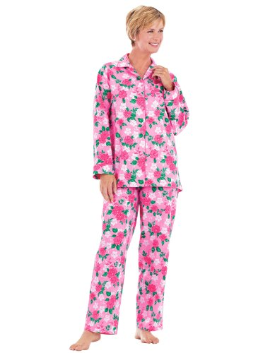 Carol Wright Gifts Floral Flannel Pajamas, Pink, Size Small Petite