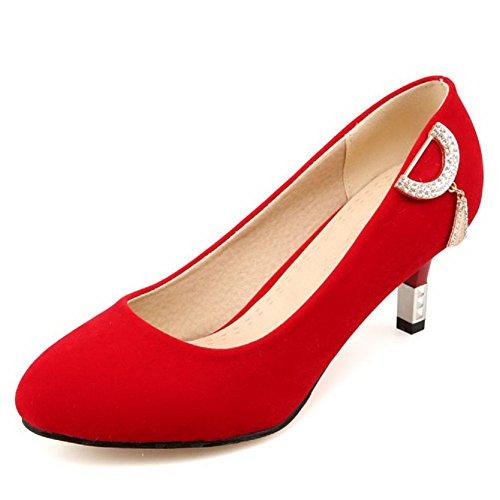 Amoonyfashion Dames Gesloten-neus Kitten-hakken Frosted Stevige Pull-on Pumps-schoenen Rood