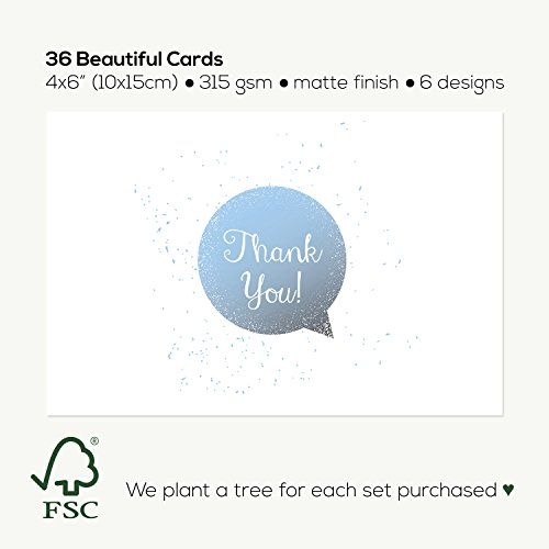 NEW: Thank You Greeting Cards [Top Quality 310gsm] w/ Envelopes, Blank Back [Tree Planted For Each Box Sold]. Bulk Assorted Set For Notes, Weddings, Businesses, Christmas. 6 Unique Designs [36 Pack] Photo #2